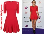 In Maria Sharapova's Closet - Alexander McQueen Slit Shoulder Fin Dress & Lara Bohinc Tatijana Choker