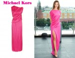 In Rosie Huntington-Whiteley's Closet - Michael Kors Asymmetrical Draped Silk-Jersey Dress