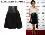 In Selita Ebanks' Closet - Elizabeth & James Odila Leather and Glossed-Twill Bell Skirt
