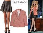 In Emma Roberts Closet - Alice + Olivia Checked Blazer & Alice + Olivia 'Louise' Leather Skirt