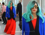Lady GaGa In Yves Saint Laurent & Vintage Versace - Toronto Airport