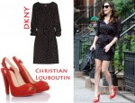 In Liv Tyler's Closet - DKNY Lips Print Dress & Christian Louboutin 'Devalavi' Suede Peep-Toes