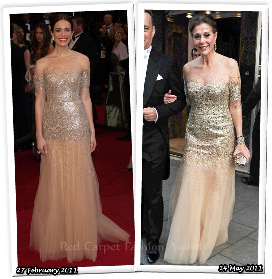 Who Wore Monique Lhuillier Better? Mandy Moore or Rita Wilson - Red ...