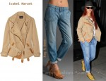 In Rihanna's Closet - Isabel Marant Jacket & Rag & Bone Carpenter Jeans