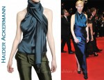 In Tilda Swinton's Closet - Haider Ackermann Scarf Collar Silk Shantung Top