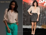 In Katharine McPhee's Closet - Alice + Olivia Smocked Cuff Blouse & Embellished Lace Mini Skirt