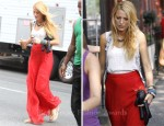 On The Set Of Gossip Girl With Blake Lively Wearing Rag & Bone