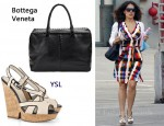 In Salma Hayek's Closet - Bottega Veneta Brick Cervo Bag & YSL Deauville Canvas Wedge Sandals
