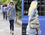 Sidewalk Style: Claudia Schiffer's Claudier Schiffer Sweater, Zadig & Voltaire Scarf, Reiss Sandals and Anya Hindmarch Shoulder Bag