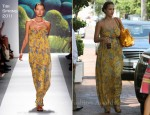 Sidewalk Style: Jessica Alba's Tibi Maxi Dress & Gerard Darel Bag