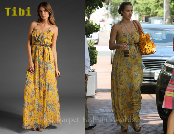 In Jessica Alba's Closet - Tibi Paisley Maxi Dress - Red Carpet ...