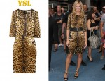 In Heidi Klum's Closet - YSL Leopard Print Silk Satin Dress