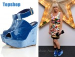 In Jamie Winstone's Closet - Michael van der Ham Blue Devore Wedges