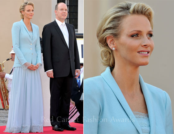 Princess Charlene Of Monaco In Karl Lagerfeld Monaco