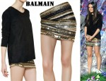 In Mila Kunis' Closet - Balmain Top & Embellished Skirt