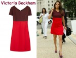 In Eva Longoria's Closet - Victoria Beckham Colour-Block Jersey Dress