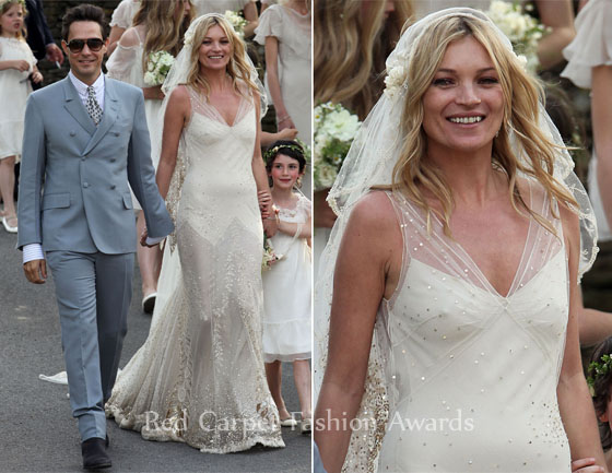 Wedding Style: Kate Moss In John Galliano & Jamie Hince In YSL - Red ...