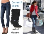 In Katie Holmes' Closet - Current/Elliott The Roller Jeans & Isabel Marant Franklin Embellished Canvas Boots