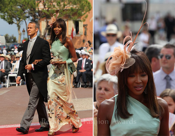 Naomi Campbell wore a one shoulder AlexanderMcQueen ombre floral embroidered dress to the Royal Wedding of Prince Albert II of Monaco and Princess Charlene of Monaco at the Prince's Palace of Monaco.