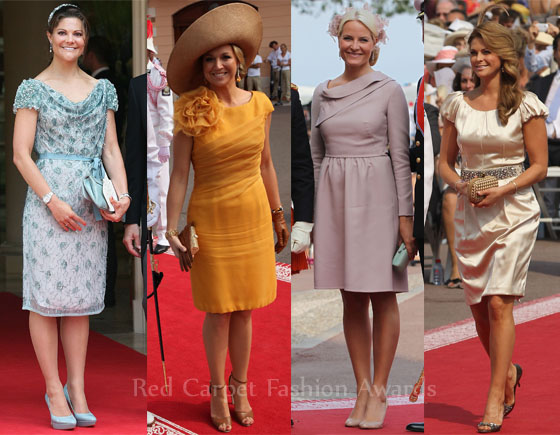 From left to right:Crown Princess Victoria of Sweden,Princess Maxima of the Netherlands,Princess Mette-Marit of Norway,Princess Madeleine of Sweden on monaco royal wedding