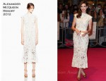 "Anne Hathaway In Alexander McQueen - ""One Day"" London Premiere"