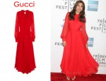 In Eva Mendes' Closet - Gucci Silk Chiffon Red Dress