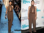 In Heidi Klum's Closet - Michael Kors Silk Marocine Scarf Neck Jumpsuit