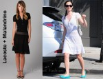 In Emmy Rossum's Closet - Lacoste + Malandrino The Pointelle Polo Dress