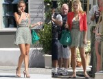 Blake Lively On The Set Of Gossip Wearing A Topshop Jacket, Shipley & Halmos Tank Top, Porter Grey Skirt & Mulberry Taylor Satchel