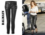In Jennifer Lopez' Closet - Balmain Zipped Leather Pants & Christian Louboutin Pigalle Spikes studded leather pumps