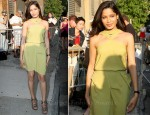 Freida Pinto In Roland Mouret - The Daily Show with Jon Stewart
