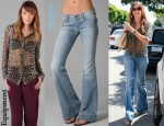 In Sofia Vergara's Closet - Equipment Spotted Hyde Brett Blouse & Hudson Ferris Flare Jeans