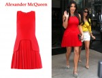 In Kim Kardashian's Closet - Alexander McQueen Pleated Red Dress