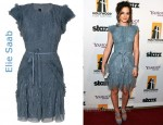 In Leighton Meester's Closet - Elie Saab Tulle Ruffle Dress & Elie Saab Cut-Out Sandals