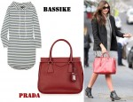 In Miranda Kerr's Closet - Bassike Striped Organic Cotton Dress & Prada Tote