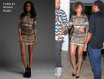 In Rihanna's Closet - Torn by Ronny Kobo Allison Africa Stripes Long Sleeve Dress