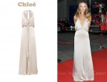 Rosie Huntington-Whiteley In Chloé Plunging Silk-Satin Gown