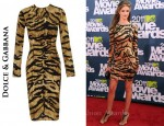 In Rosie Huntington-Whiteley's Closet - Dolce & Gabbana Tiger Print Dress
