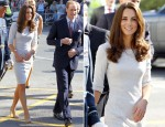 Catherine, Duchess of Cambridge In Amanda Wakeley - Royal Marsden Hospital Visit