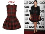 In Emma Watson's Closet - McQ Tartan Wool Puffball Mini Dress & Christian Louboutin Spikes Pumps
