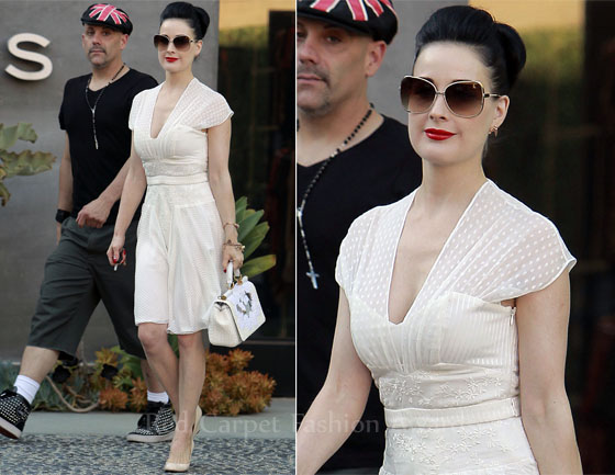 a8481222ca0 Dita von Teese was spotted out and about with a friend in LA recently  looking as beautiful and flawless as ever. She opted to wear a Maxime  Simoens Spring ...