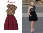 In Chloe Moretz' Closet - Carven Asymmetrical Twill Tartan Dress