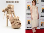 In Emma Stone's Closet - Christian Dior Ingenue Suede Bow T-Strap Sandals