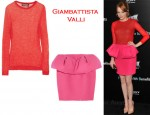 In Emma Stone's Closet - Giambattista Valli Fine Knit Sweater & Wool-Crepe Puff Skirt