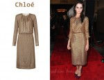 In Felicity Jones' Closet - Chloé Rose Gold Dress