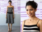 Freida Pinto In Salvatore Ferragamo - 'Black Gold' Doha Tribeca Film Festival Photocall