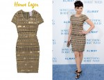 In Ginnifer Goodwin's Closet - Herve Leger Embellished Houndstooth Bandage Dress
