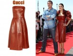 In Salma Hayek's Closet - Gucci Strapless Leather Dress