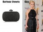 In Carey Mulligan's Closet - Bottega Veneta Waxy Studded Intrecciato Leather Box Clutch