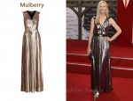 In Joely Richardson's Closet - Mulberry V-Neck Pleated Dress